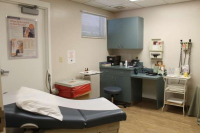 The exam room used for pregnant patients in Starke, Florida.