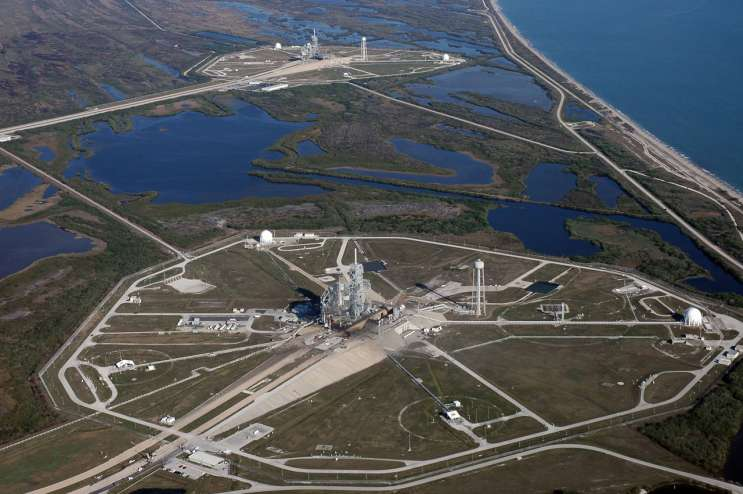 This aerial view looking north shows space shuttle Complex 39 Launch Pads A (foreground) and B at NASA's Kennedy Space Center. To the right is the Atlantic Ocean. (2006) Photo credit: Cory Huston, NASA