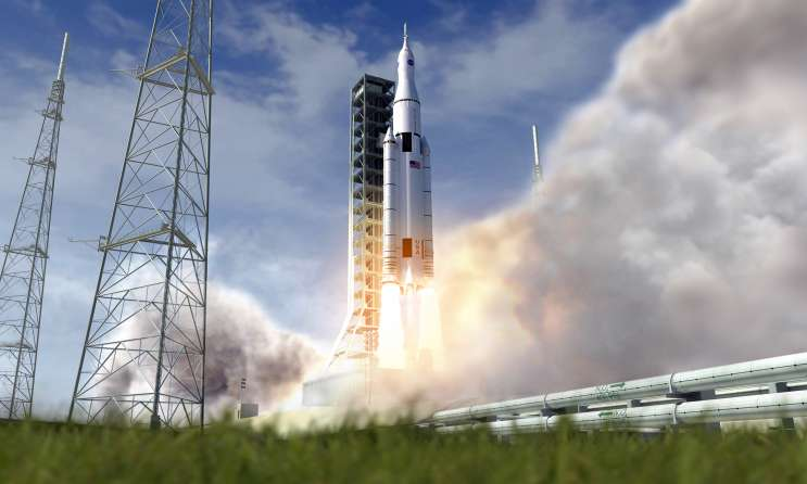 The SLS, Orion atop, lifting off in this artist's concept. What happens to this rocket under the new administration? Photo: NASA