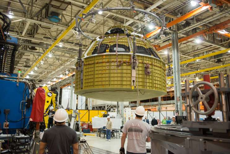 Technicians at Michoud Assembly Facility in New Orleans finished welding together the primary structure of the Orion spacecraft destined for deep space. Photo: NASA