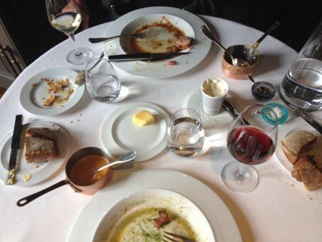 My table at the end of my meal at Guy Savoy, overlooking the Seine River, just across from the Louvre.